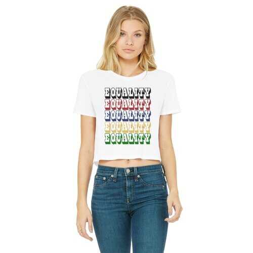 Equality Graphic Text Word Art (Rainbow) Women's Classic Cropped Raw Edge T-Shirt