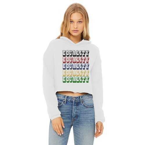 Equality Graphic Text Word Art (Rainbow) Cropped Raw Edge Hoodie