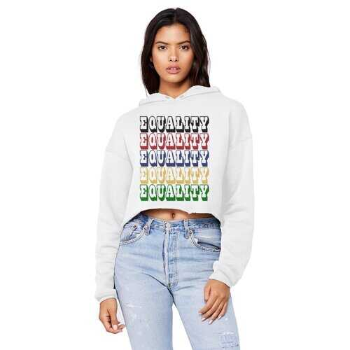 Equality Graphic Text Word Art (Rainbow) Raw Edge Cropped Hooded Shirt