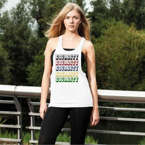 Equality Graphic Text Word Art (Rainbow) Women's Loose Racerback Tank Top