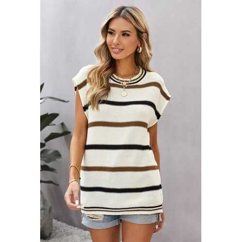 Short Sleeve Womens Top White Stripe Knit Shirt
