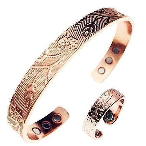 Women's Floral Style Magnetic Copper Bracelet & Ring