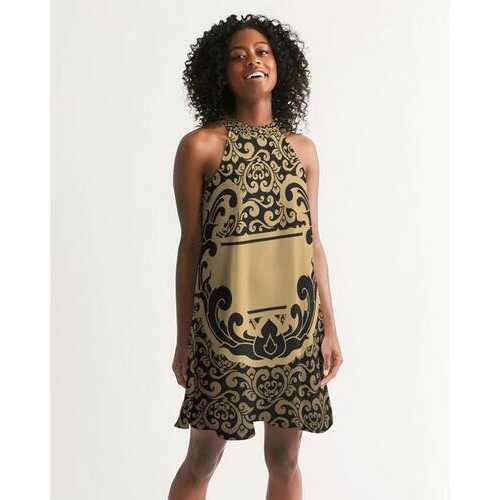 Black and Gold Vintage Print Women's Halter Dress