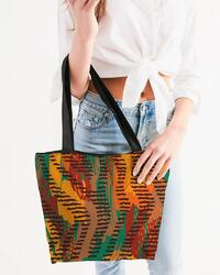 Canvas Tote Bags, Orange And Brown Abstract Style Shoulder Bag