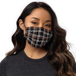 Category: Dropship Face Masks, SKU #4593920704585, Title: Masks, Orange and Black Tartan Style Face Covering
