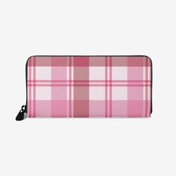 Wallet Cases, Pink And White Plaid Style Leather Wallet