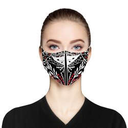 Category: Dropship Face Masks, SKU #4595683426377, Title: Black Red and White Cloth Face Mask includes two PM2.5 filters