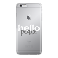Peach Marble Hello Peace Graphic Style Back Printed Transparent Soft Phone Case