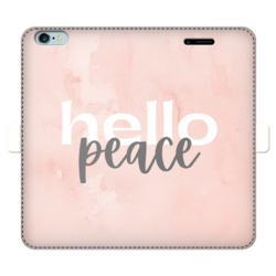 Peach Marble Hello Peace Graphic Style Fully Printed Wallet Cases