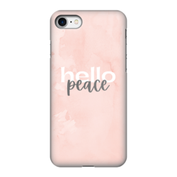 Peach Marble Hello Peace Graphic Style Fully Printed Tough Phone Case