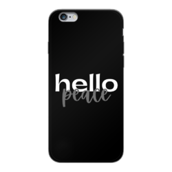 Peach Marble Hello Peace Graphic Style Back Printed Black Soft Phone Case