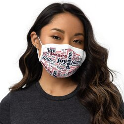 Category: Dropship Face Masks, SKU #4598449700937, Title: Masks, Peace Love Joy Faith Graphic Style Face Mask