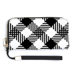 Accessories, Black And White Plaid Style Leather Wallet Wristlet
