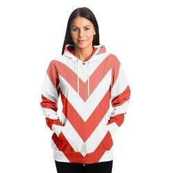Womens Hoodies, Red And White Herringbone Style Hooded Shirt