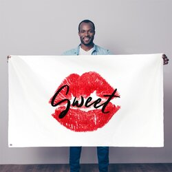 Sweet Kiss Red Lipstick Black Graphic Text Style Decorative Tapestry