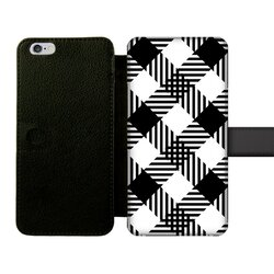 Black and White Plaid Style Front Printed Wallet Cases