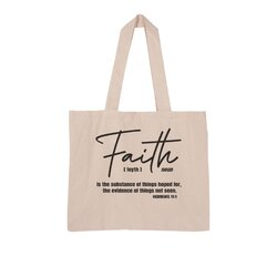 Faith The Substance Of Things Hoped For, Black Graphic Text Large Organic Tote Bag