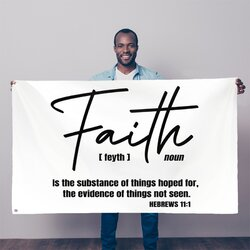 Faith The Substance Of Things Hoped For, Black Graphic Text Decorative Tapestry