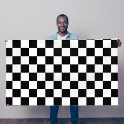 Black And White Checker Style Decorative Tapestry