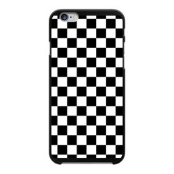 Black and White Checker Style Back Printed Black Hard Phone Case