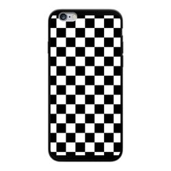 Black and White Checker Style Back Printed Black Soft Phone Case
