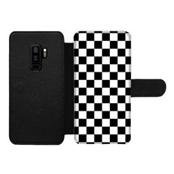 Black and White Checker Style Front Printed Wallet Cases