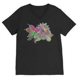 Floral Odyssey Graphic Style Premium V-Neck T-Shirt
