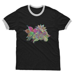 Floral Odyssey Graphic Style Adult Ringer T-Shirt