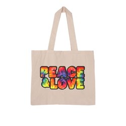 Peace & Love Graphic Style Large Organic Tote Bag