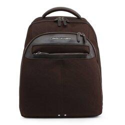 Piquadro Backpack, Multipocket Designer Rucksack - Blue / Black / Brown