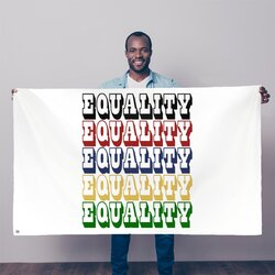 Equality Graphic Text Word Art (Rainbow) Decorative Tapestry