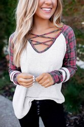 Womens Shirts, Plaid Crisscross V Neck Long Sleeve Waffle Knit Top