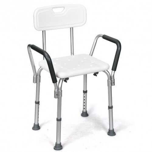 6 Adjustable Height Safety Bathtub Shower Chair with 330lbs Large Weight Capacity