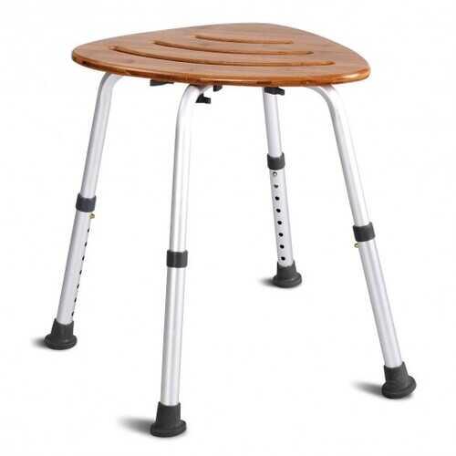 Fanshaped Bamboo Bath Seat Shower Chair