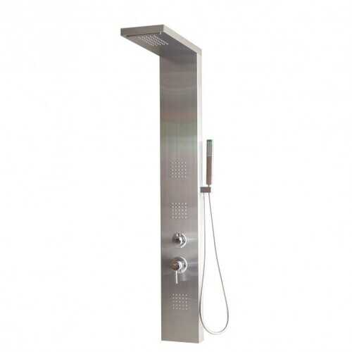 "57"" Stainless Rainfall Waterfall Panel Shower w/ Massage Jets"