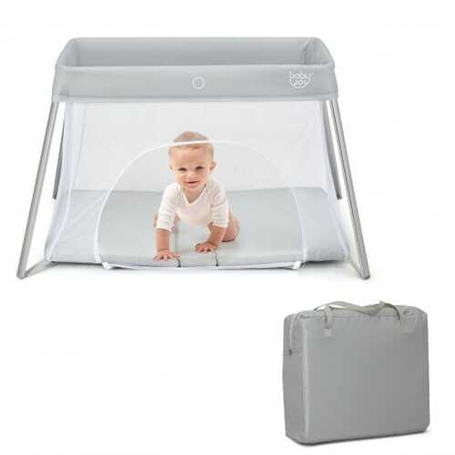 Lightweight Foldable Baby Playpen w/ Carry Bag-Light Gray