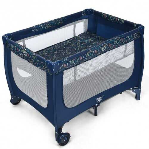 Portable Baby Playpen with Mattress Foldable Design-Blue