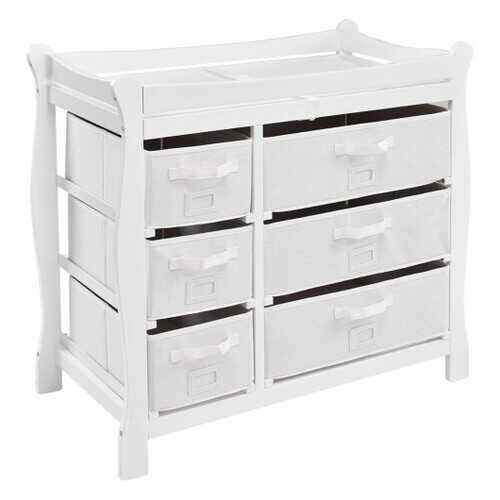 Sleigh Style Baby Changing Table Diaper 6 Basket Drawer Storage Nursery-White