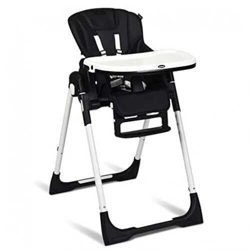 Foldable High chair with Multiple Adjustable Backrest-Black