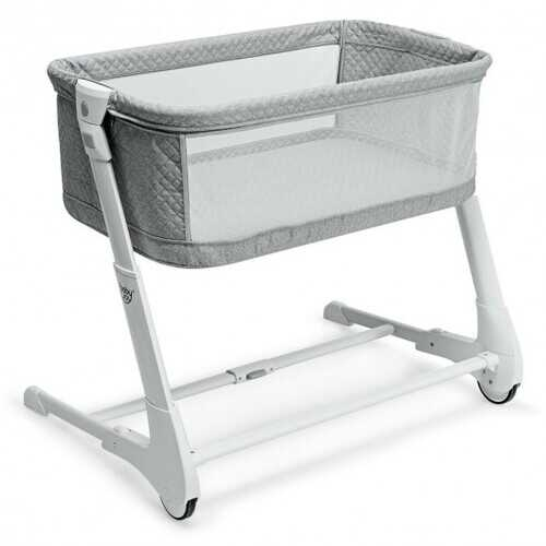 Baby Height Adjustable Bassinet w/ Washable Mattress-Gray
