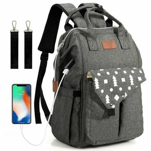 Large Waterproof Diaper Bag Backpack with USB Charging