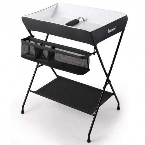 Portable Infant Changing Station Baby Diaper Table with Safety Belt-Black