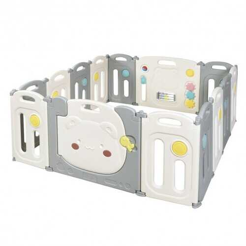 14-Panel Foldable Baby Playpen Safety Yard with Storage Bag