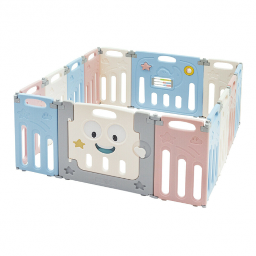 14-Panel Foldable Baby Playpen Kids Activity Centre-Multicolor