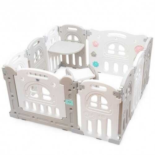 10-Panel Foldable Baby Playpen with Tray Table and Desk