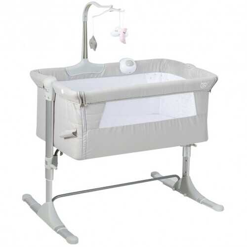 Height Adjustable Baby Side Crib  with Music Box & Toys-Light Gray