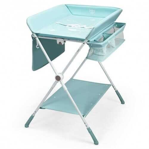 Folding Baby Changing Table with Storage -Blue