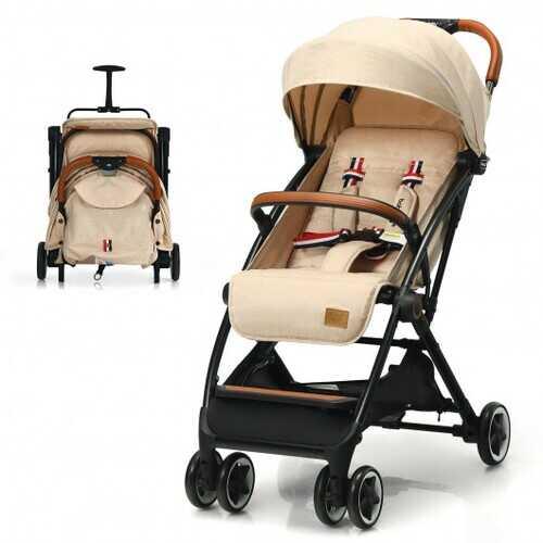 Lightweight Aluminium Frame Baby Stroller with Net-Beige