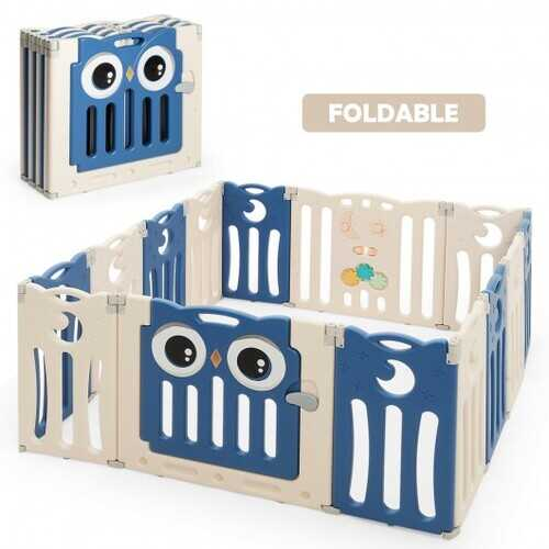 14-Panel Baby Playpen Kids Activity Center Foldable Play Yard with Lock Door-Blue