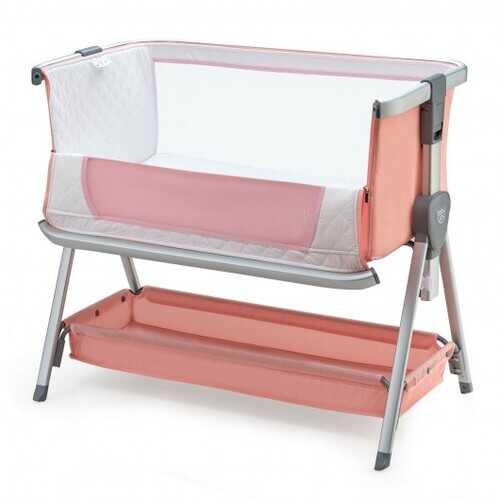 Baby Bed Side Crib Portable Adjustable Infant Travel Sleeper Bassinet-Pink